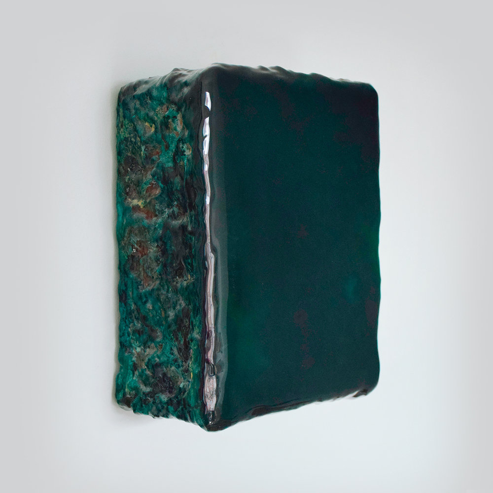 Verde  Pigments, plaster and epoxy on wood 10 x 13 x 5 inches 25 x 32 x 13 cm 2018