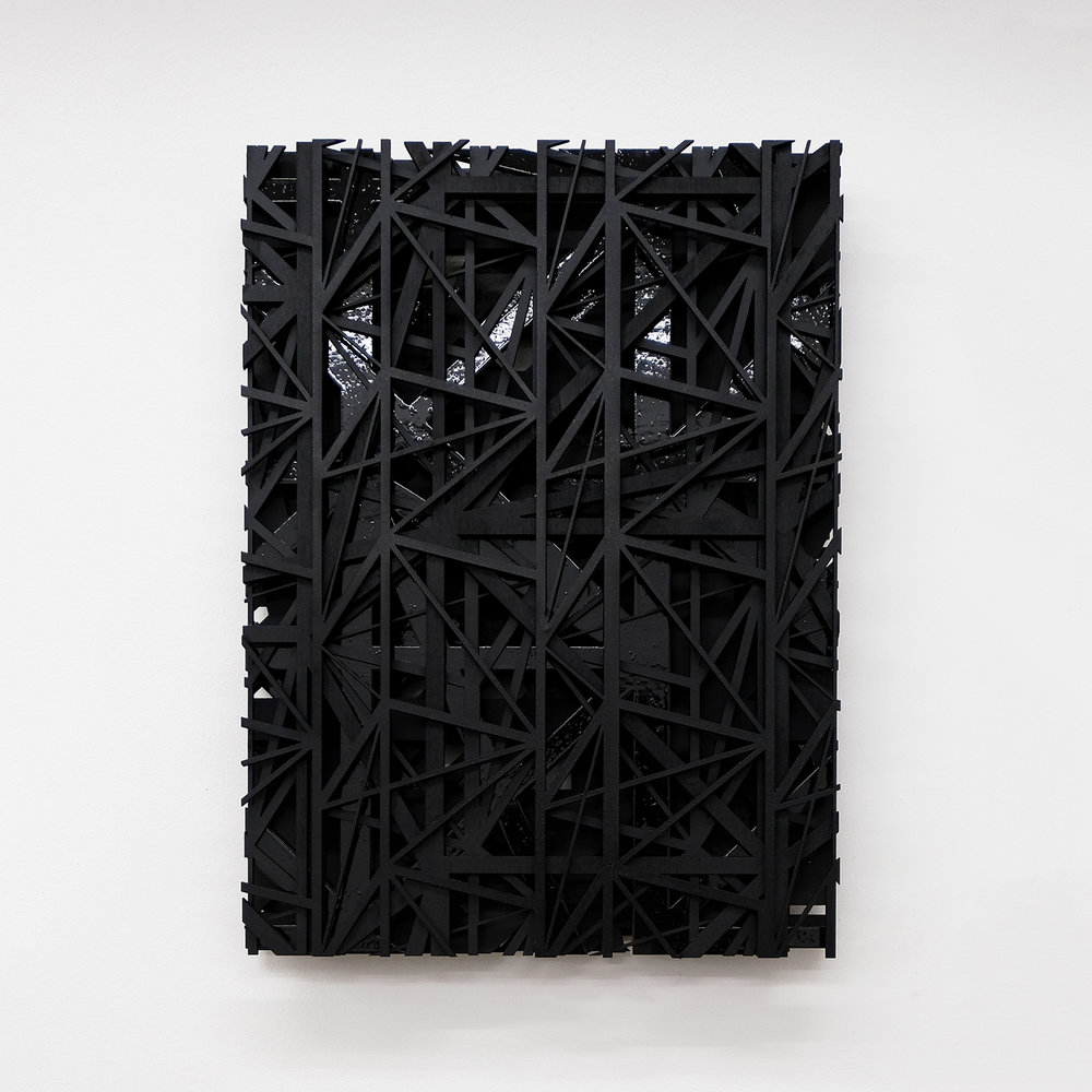 Increment Increase VI  Wood assemblage 11 x 15 x 2 inches 28 x 38 x 5 cm 2018