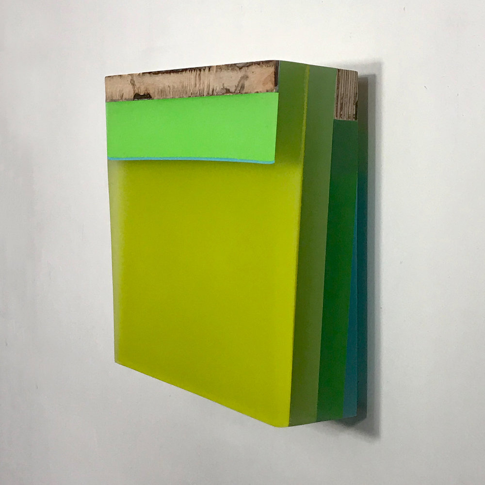 Dusk Still Series: Ninigret Fringe  Mixed media on hand cut Lucite and apple-ply  6.5 x 6.75 inches 16.5 x 17 cm 2018