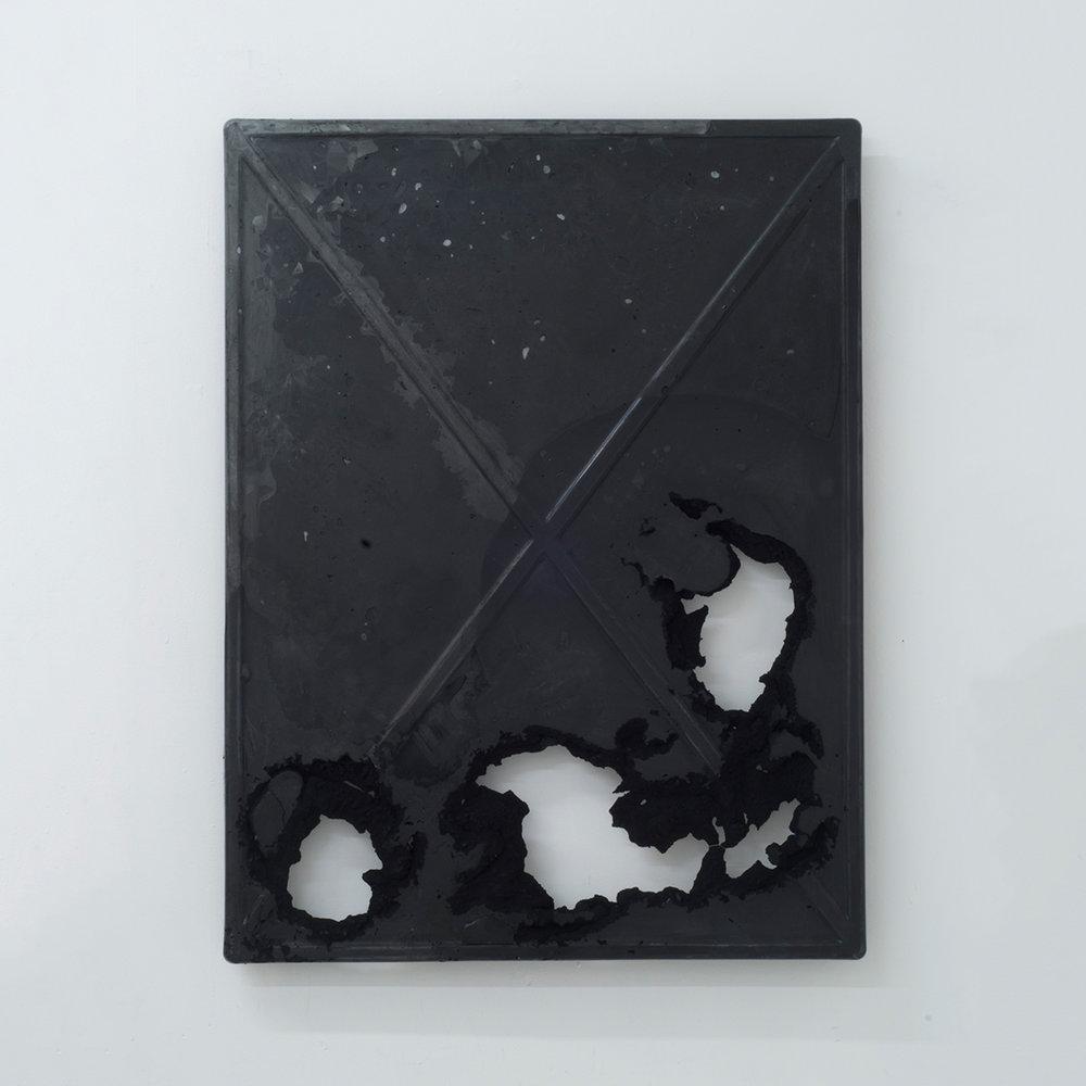X Slab (finite black)   Marble, glass, dry pigment, resin 32 x 42 inches 81 x 107 cm 2017