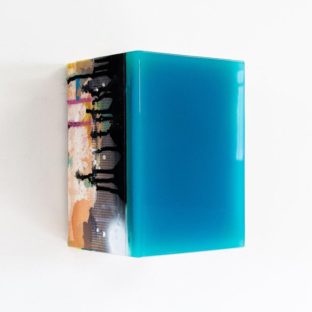 Tessera 13B/17   Wood, acrylic, pigments, fabric, epoxy resin 8 x 8 x 5.5 inches 20 x 20 x 13.5 cm 2017