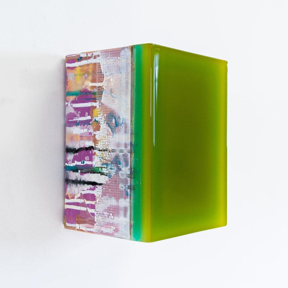 Tessera 13B/18  Wood, acrylic, pigments, fabric, epoxy resin 8.25 x 6 x 6 inches 21 x 15 x 14.5 cm 2017