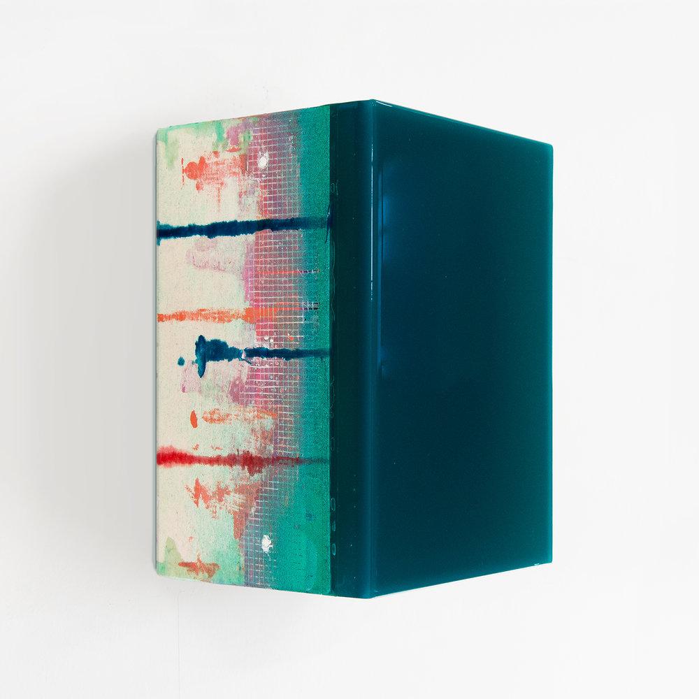 Tessera 13B/b4  Wood, acrylic, pigments, fabric, epoxy resin 8.25 x 6 x 5 inches 21 x 15 x 13.5 cm 2017-2018