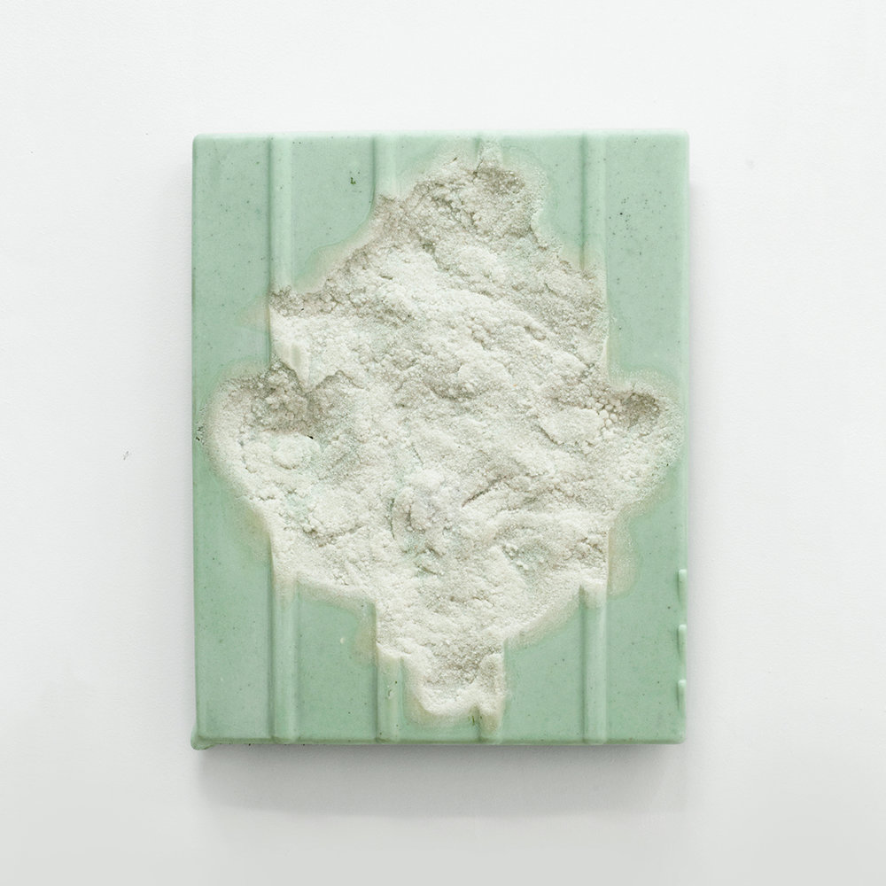Corrugated Slab (calcite green)  Marble, dry pigment, resin 16 x 20 inches 41 x 51 cm 2019