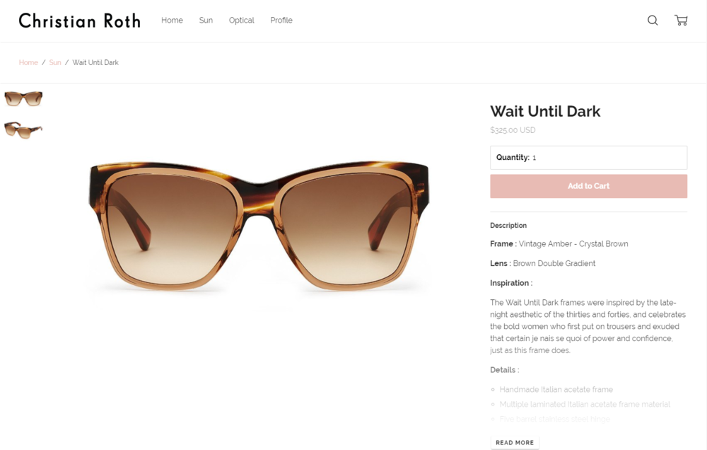 71bf2c7d0de How conceptual eyewear brands approach websites and Instagram — the ...