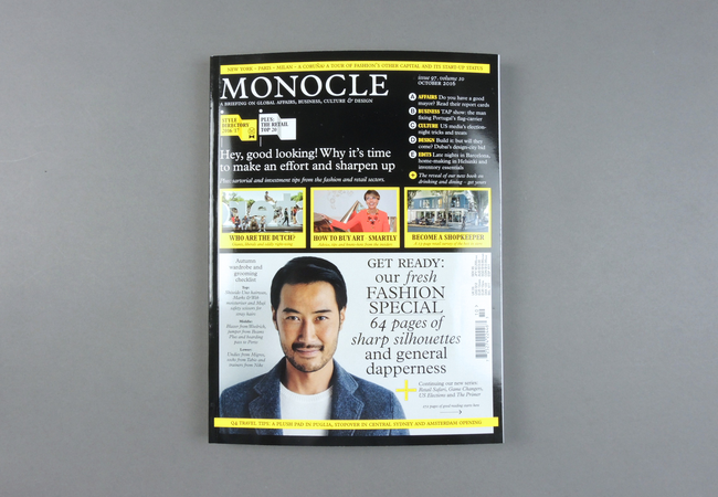Monocle is a monthly publication featuring political, social, cultural and global issues through in-depth reporting by its correspondents around the world. Launched in 2007 by Tyler Brûlé,  Its advertorial contents, created in collaboration with many brands, have provided a successful and steady source of revenue for the comprehensive media company.  Provenance: London - Zurich. Market price: 12 Euro