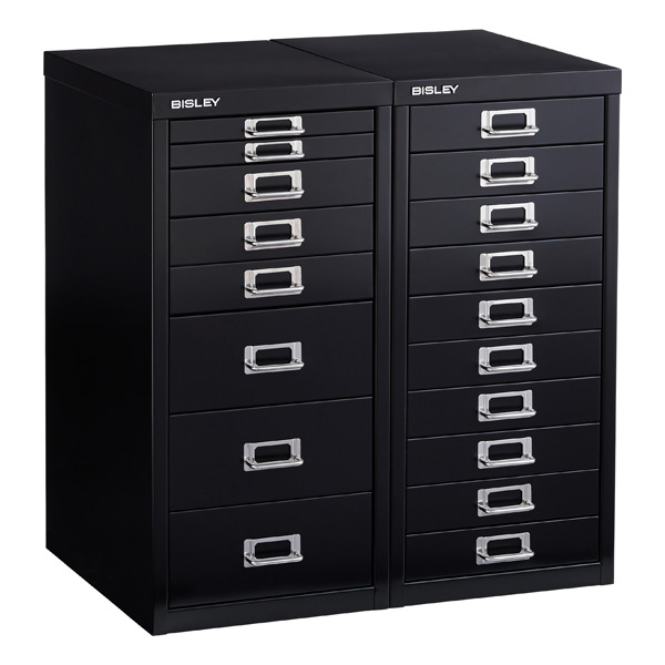 Bisley Black 8- & 10-Drawer Collection Cabinets