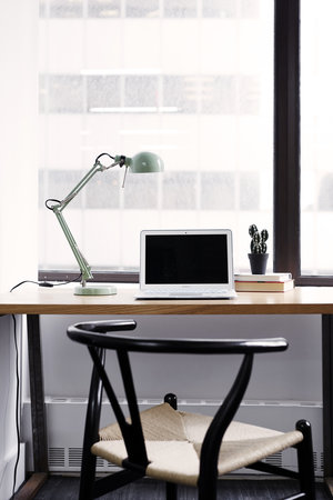 workstation by window with computer, lamp, books, and cactus plant