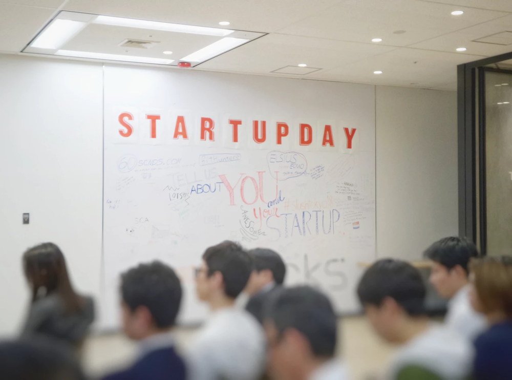 group of workers in front of a motivational startup day board