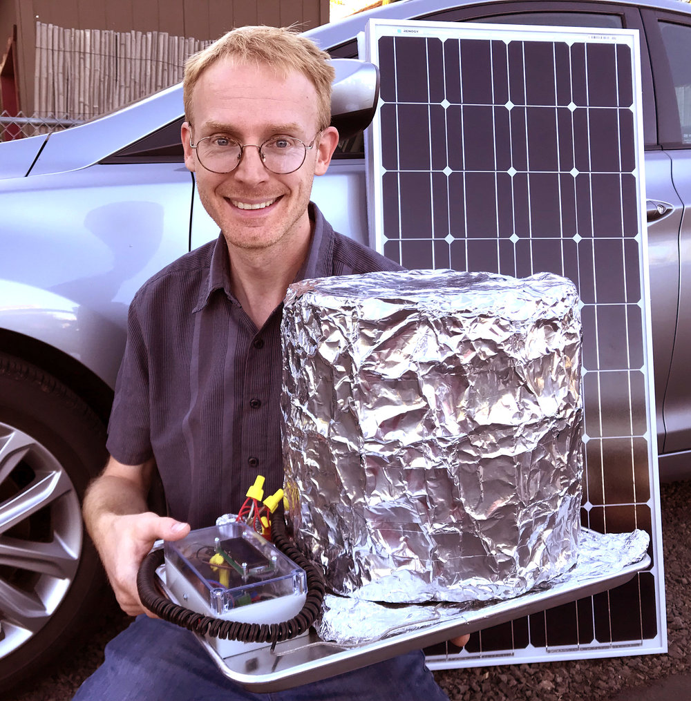 Author David Hartkop testing the Open Autoclave with solar power in Medford, Oregon.