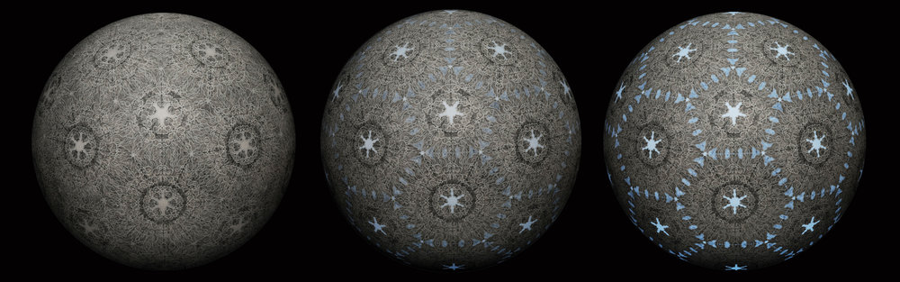 "Figure 1. Carol Prusa, Fearful Symmetry, 36"" diameter acrylic sphere, silverpoint with graphite and titanium white pigment and programmed internal LED array, 2013"