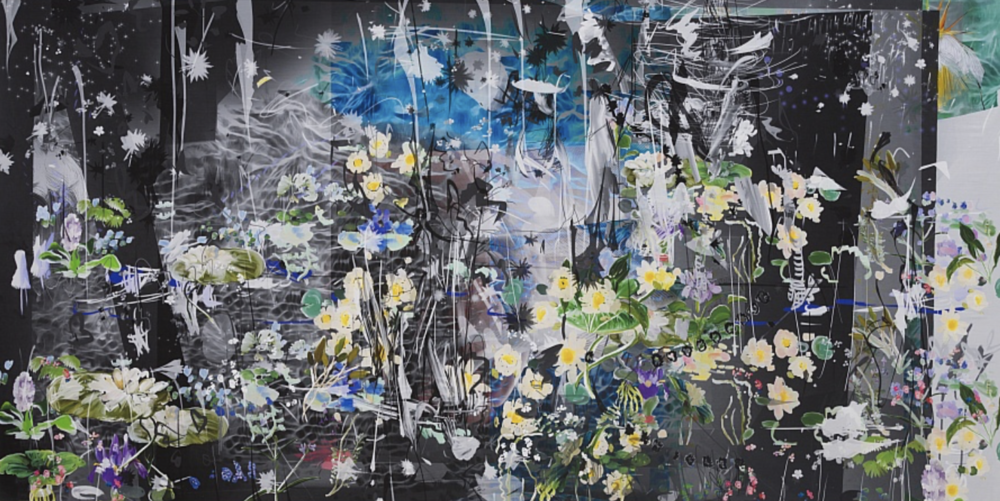 Petra Cortright,  Speed with Keanu elena de lisser map home  47 x 92 in Digital painting on Belgian linen