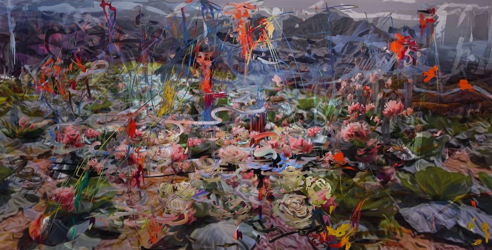 Petra Cortright,  ColourNurple_as_listed_on_SASArgo_listserv.exe  2018 48 x 94 in Digital painting on anodized aluminum