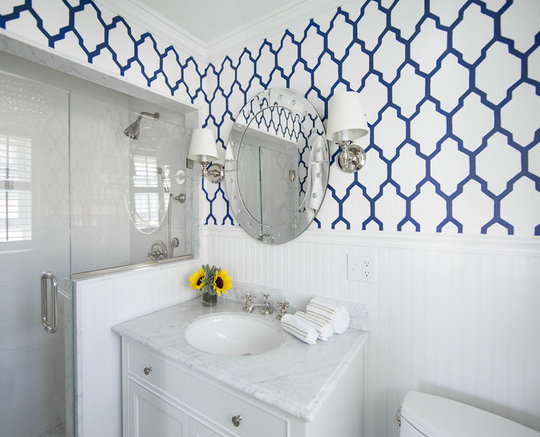 BATHROOM - SHOWER TILE AND WALL PAPER WITH PANELING