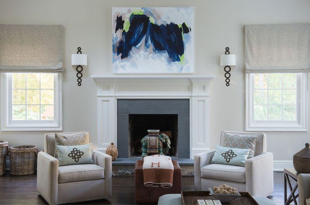 LIVING ROOM DECOR - ART ABOVE FIREPLACE - PILLOWS - HERMES