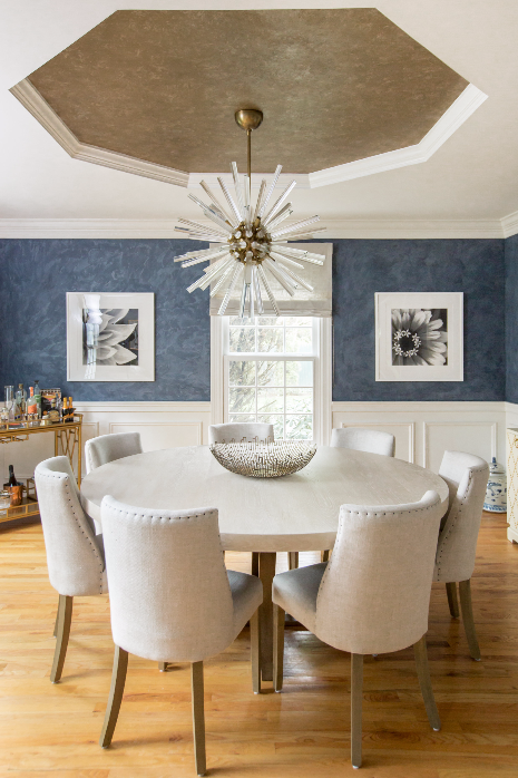 DINING ROOM - BLUE WALLPAPER AND WAINSCOTING - DINING TABLE AND CHAIRS