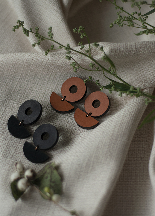 Minimalist Leather Earrings Julia