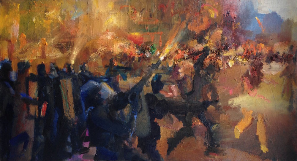 """Riot in Orange"" by Alex Schaefer Oil on Canvas 36""x20"""