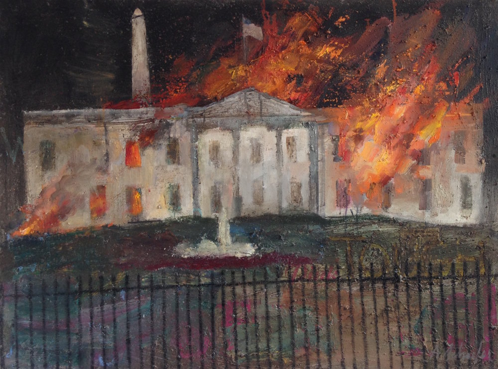 """Burning down the house"" by Alex Schaefer Oil on Canvas 40""x30"""