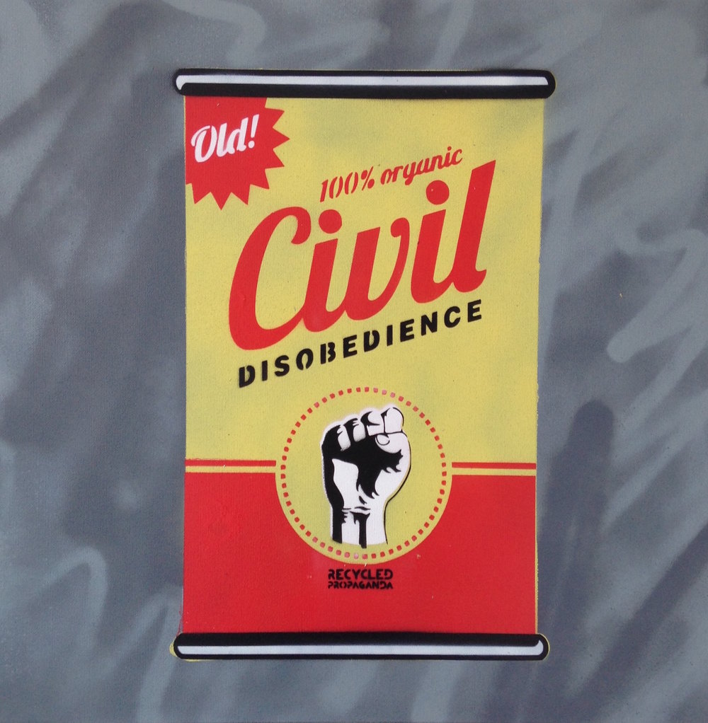 """Civil Disobedience"" by Recycled Propaganda Aerosol on Canvas 20""x20"""