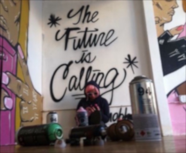 "Nina Cuss Mural Installation Shot ""The Future is Calling"" 2015"