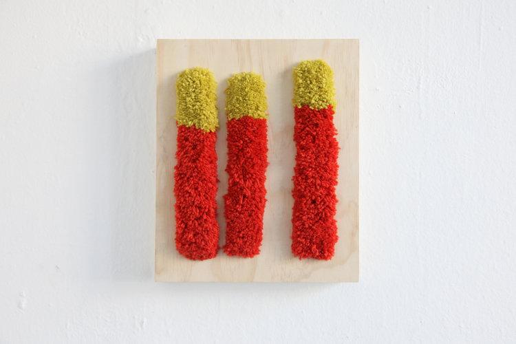 "Alise Anderson  12"" x 10"" Wool yarn, wood"