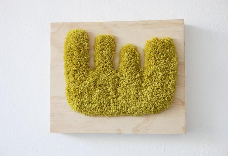 "Alise Anderson  10"" x 12"" Wool yarn, wood"
