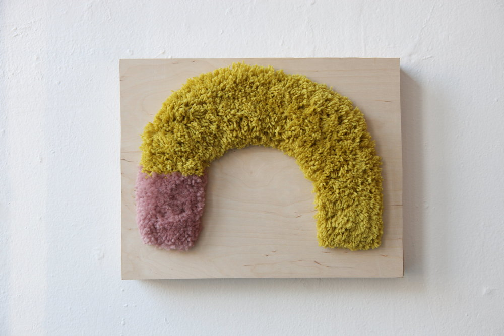 "Alise Anderson 12"" x 15"" Wool yarn, wood"
