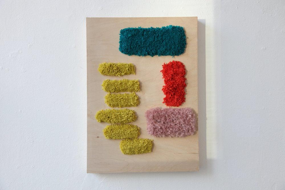 "Alise Anderson  22.5"" x 16"" Wool yarn, wood"