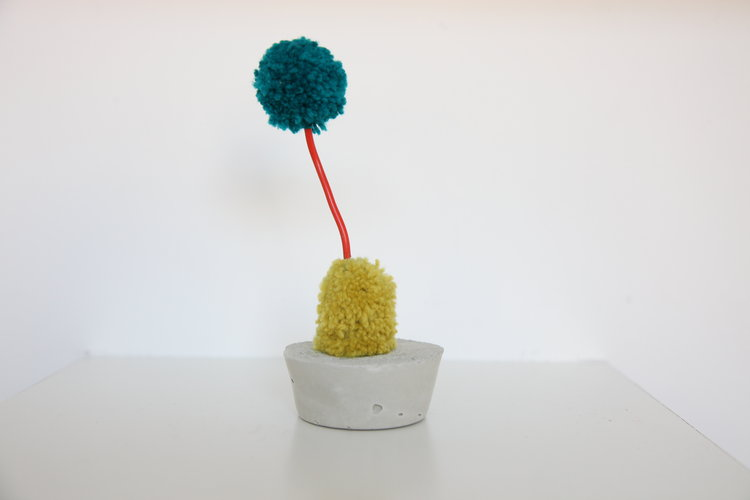 "Alise Anderson  5"" Wool yarn, wire, cement"