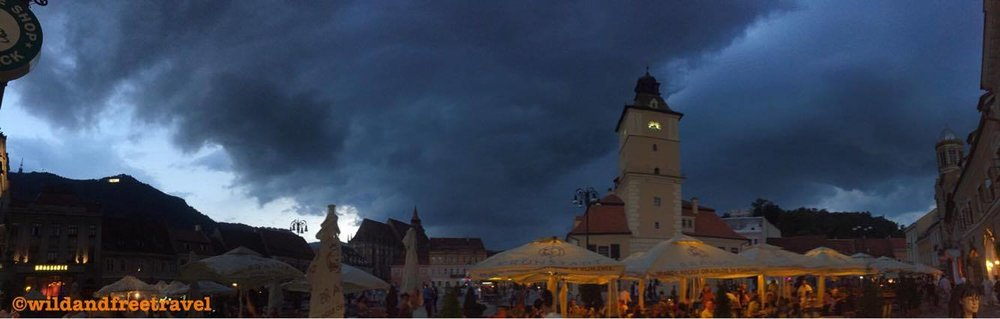 A stormy night in Brasov, Romania..