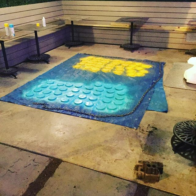 Connect 4 is almost done #spraypaint #connect4 #biggames #patio #htown #progress #yellow #turquoise