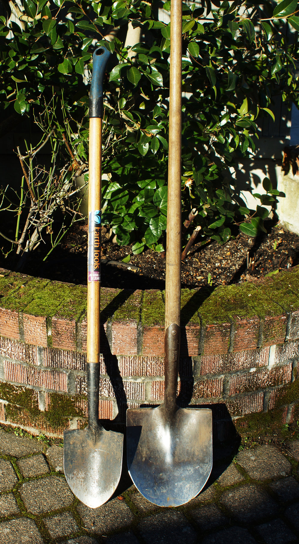 Floral shovel (left) has a smaller blade than a standard shovel, but a similar long handle.