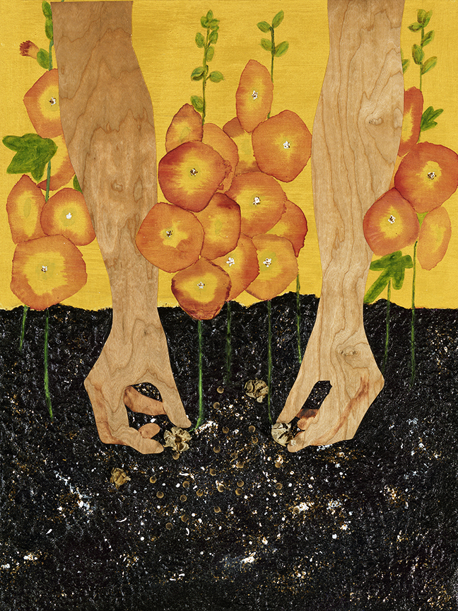 "The Sower  by Sarah Mottaghinejad: cherry veneer, acrylic, watercolor, mica, and hollyhock seeds on a clay panel, 18"" x 24"""