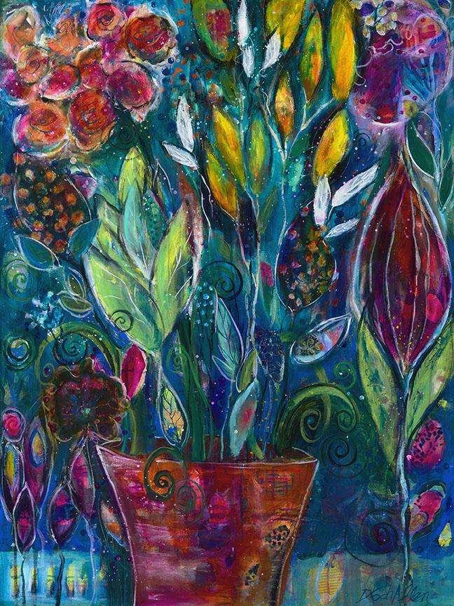"Garden Fantasia ( 40"" high x 30"" wide, acrylics) by Doreen Koch Allen"