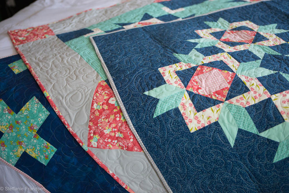 Brighton pieced by Melissa McDaniel of Modern Necessities, Eugene pieced by Melanie Call, Newton pieced by Jen Van Orman