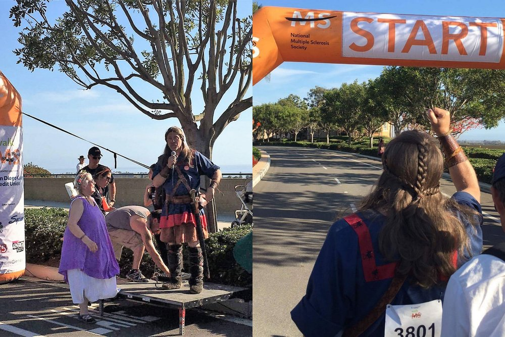 Vista Viking Festival's Odin leads the charge at Walk MS Carlsbad, 2017. Photo Courtesy:Renee Fox