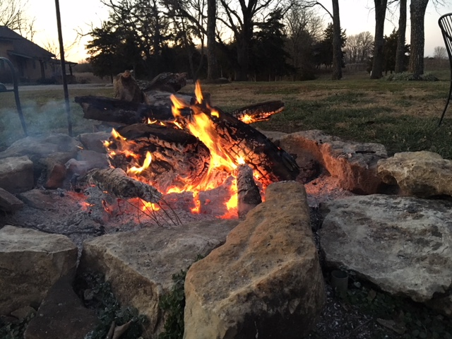 Our fire pit is huge... December is a great time at the winery!