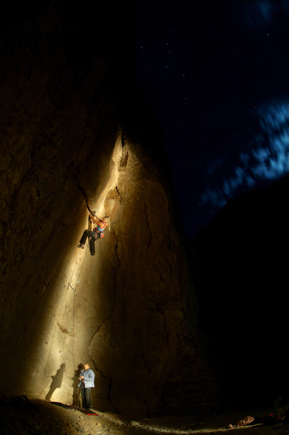 Misty on unknown 12a @ the Concave in Arrow Canyon, Nevada photo- Keith Ladzinski