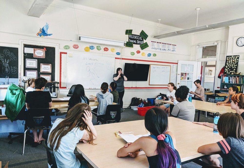 Jen teaching at Lake Washington Girls' Middle School