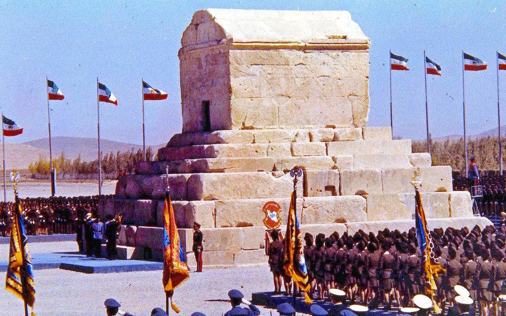 Pasargadae, Iran. The tomb of Cyrus the Great during the 2,500th anniversary of the Persian Empire in 1971.