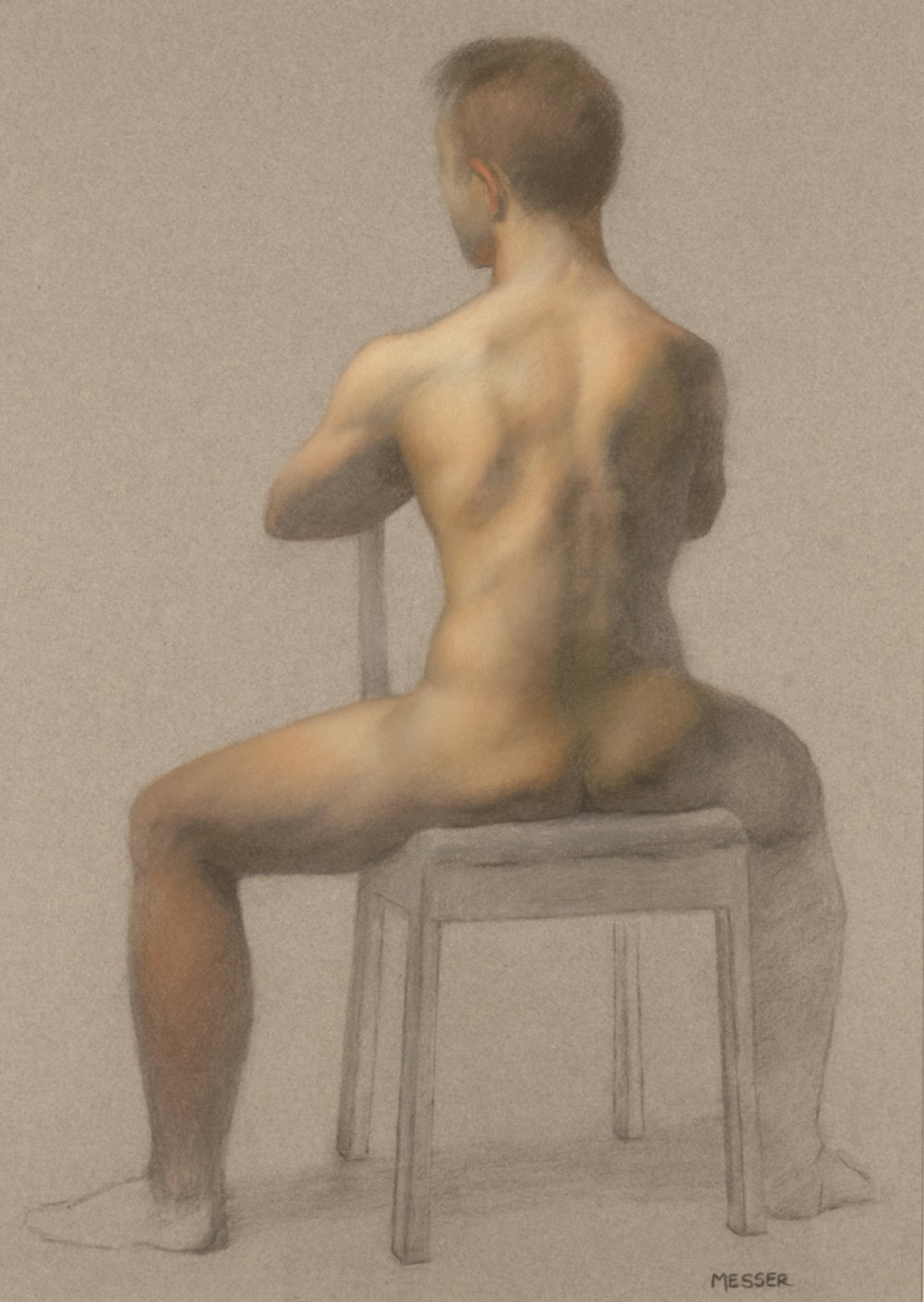 Noah Seated , 2017, pastel on toned paper, 18 x 24 in.