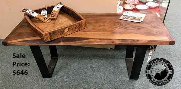 Live edge Walnut Coffee Table with steel flat bar legs.  Sale Price: $646