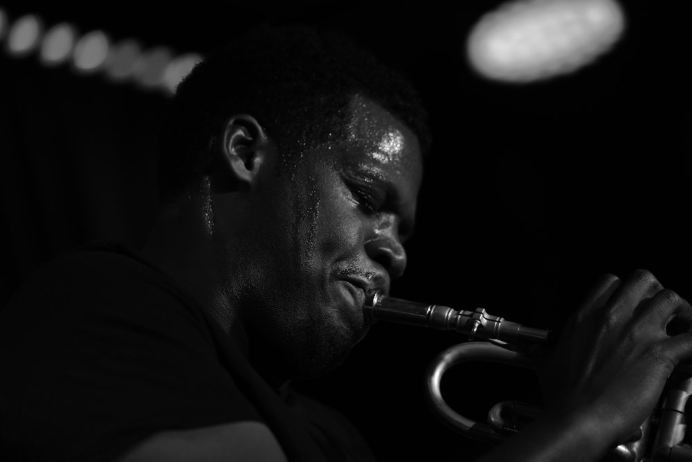 Keyon Black and White closeup playing.JPG