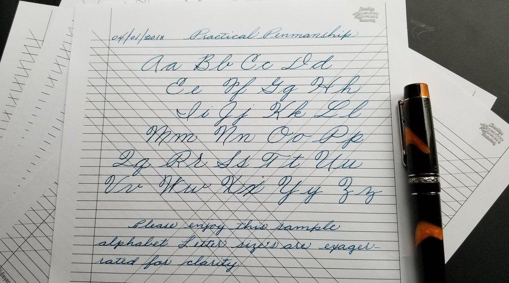 Cursive Alphabet SampleandLine Template -