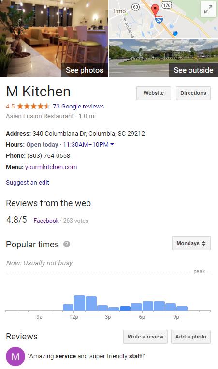 M Kitchen Google Page
