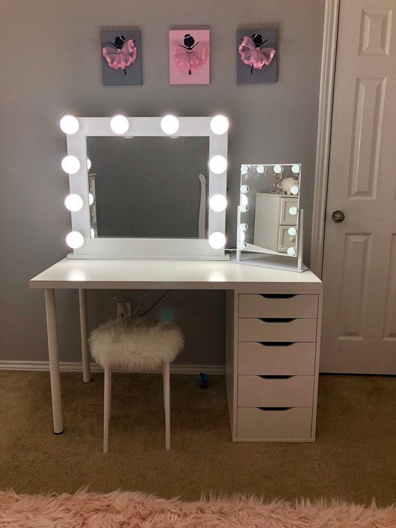 Makeup Mirror.Small 10 Bulb Vanity Mirror With Hollywood Lighting Perfect For Ikea Vanity Bulbs Not Included Charm Vanities