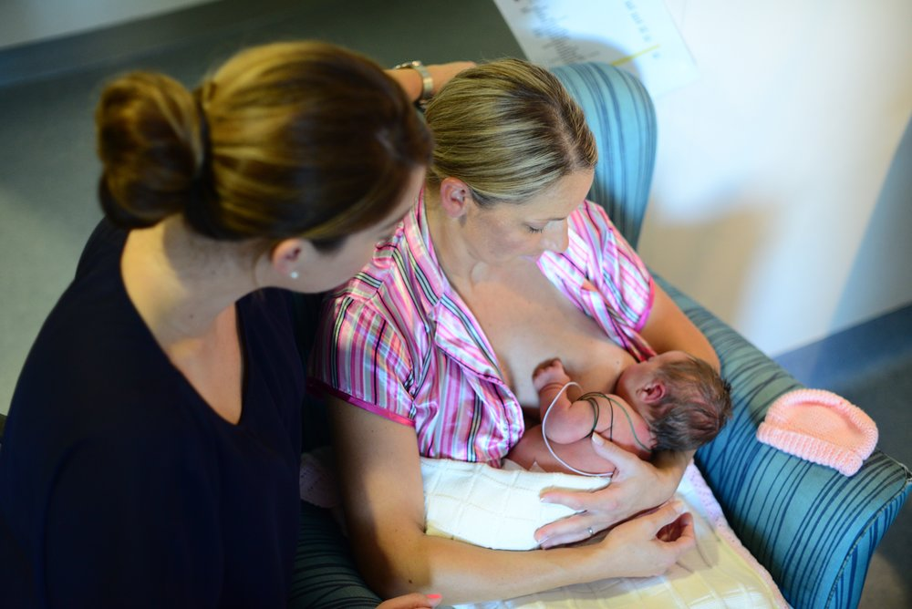 In Special Care Nursery with Melissa + baby Mia (two days old).
