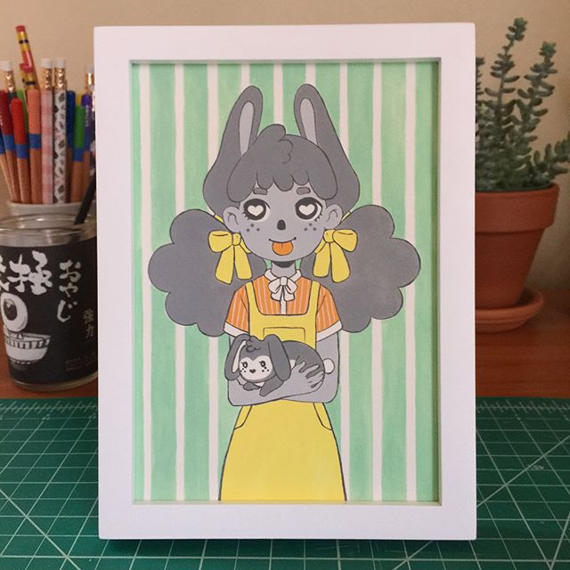 The sister painting for the #bunny show @candybabel ! I'll be dropping these cuties off today. . . . . #gouache #artistsoninstagram #rabbit