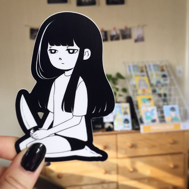 I made some stickers! 🔪🔪🔪 I'll have this #knifegirl at harucon this Friday and Saturday. They'll also be up on my shop next week! #sticker #knife #girl #illustration #artistsoninstagram #harucon